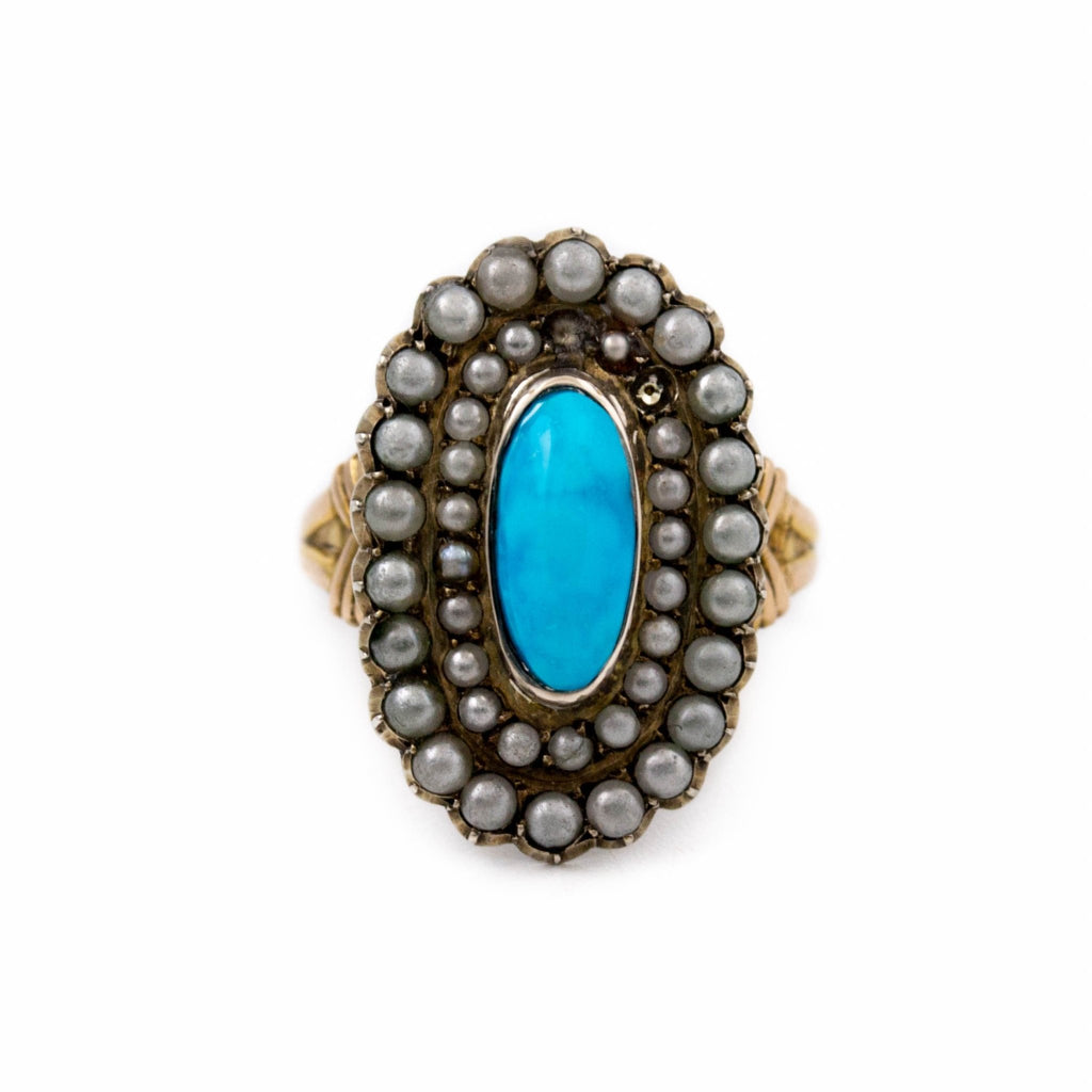 Antique Turquoise Gold Ring - Kingdom Jewelry
