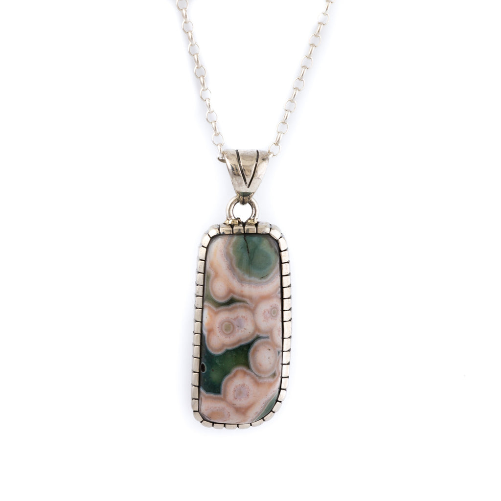 Oblong Peach // Green Ocean Jasper Pendant by Kingdom""