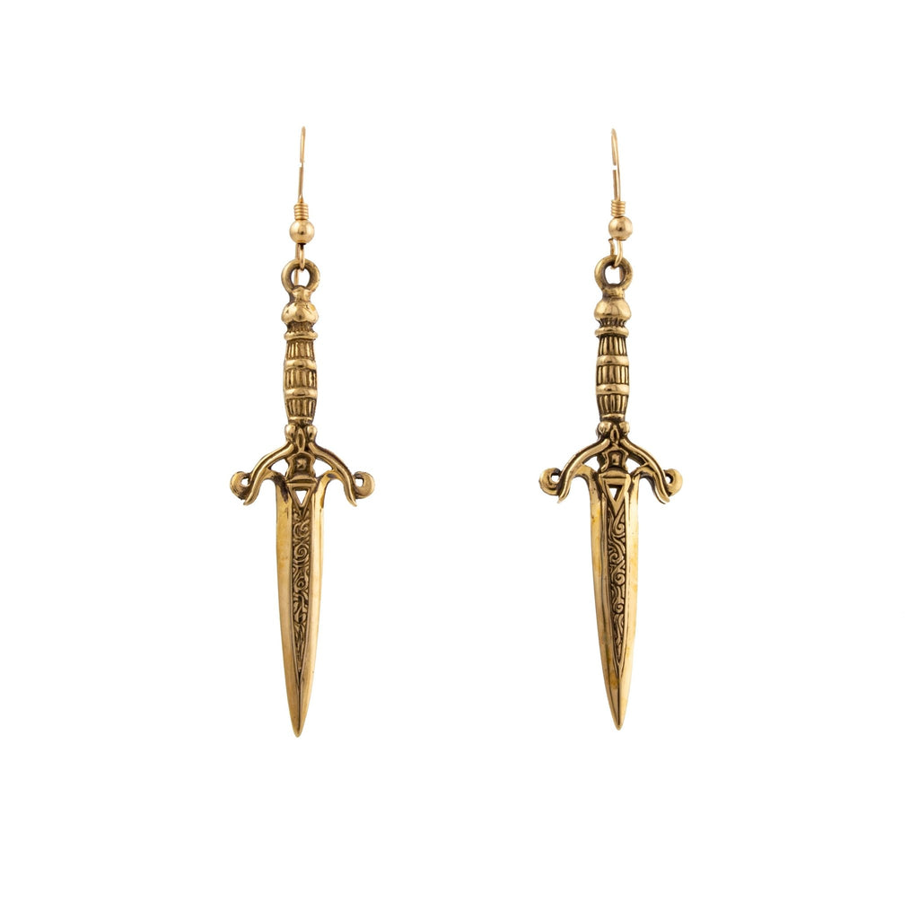 Brass Dagger Earrings - Kingdom Jewelry