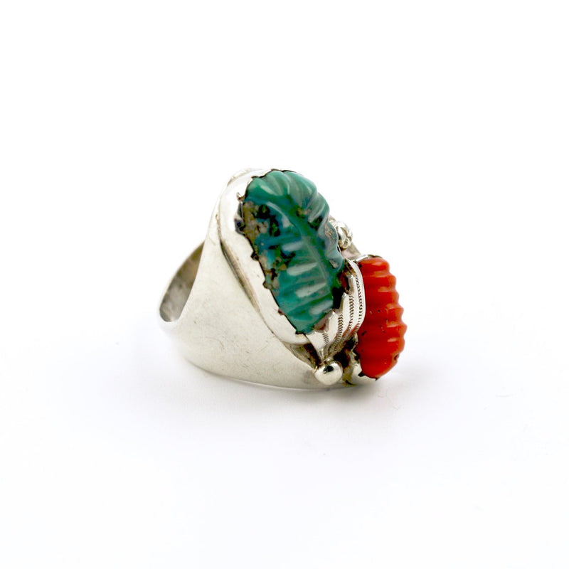 Carved Green Turquoise Ring - Kingdom Jewelry