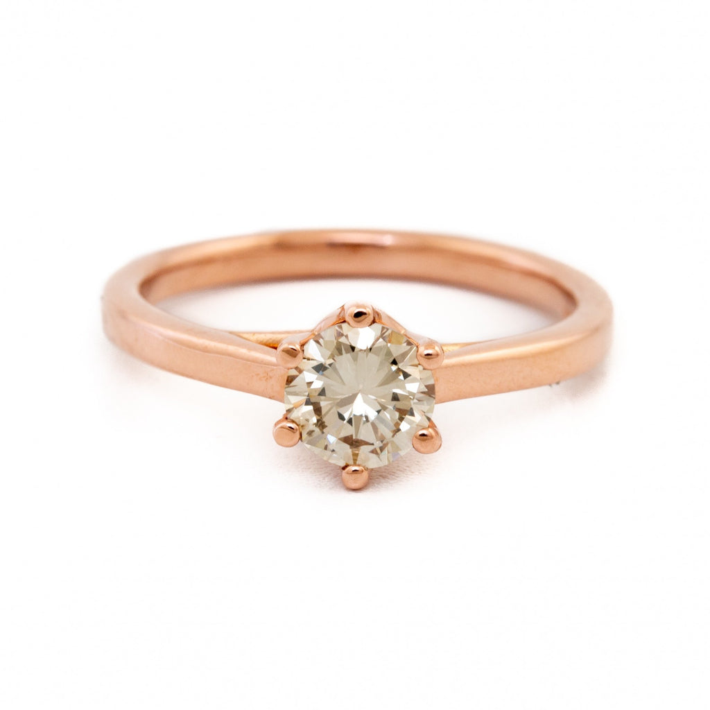 Champagne Diamond Solitaire Ring - Kingdom Jewelry