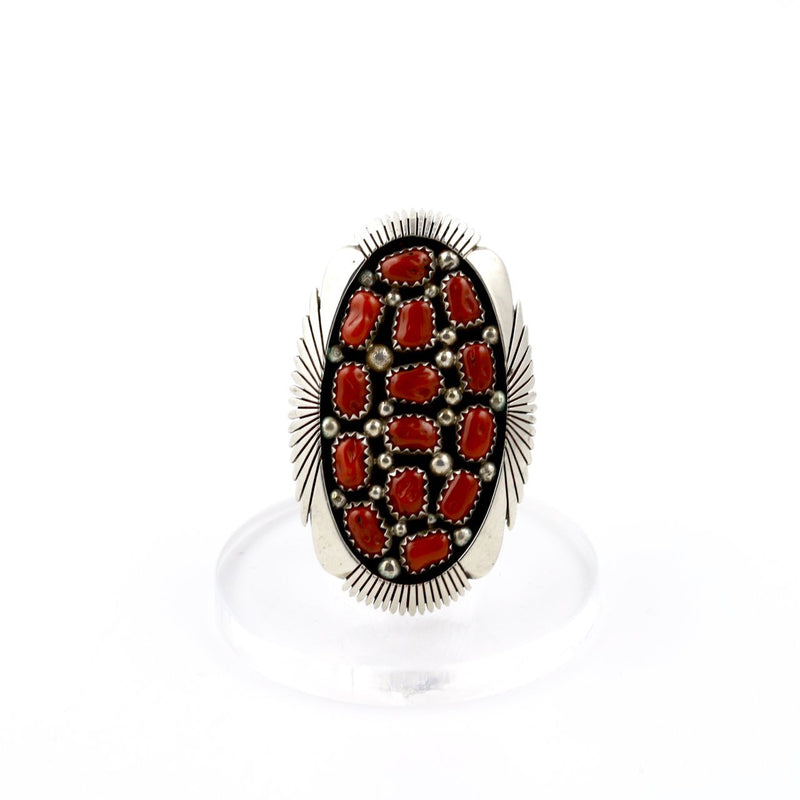 Cluster Red Coral Ring - Kingdom Jewelry