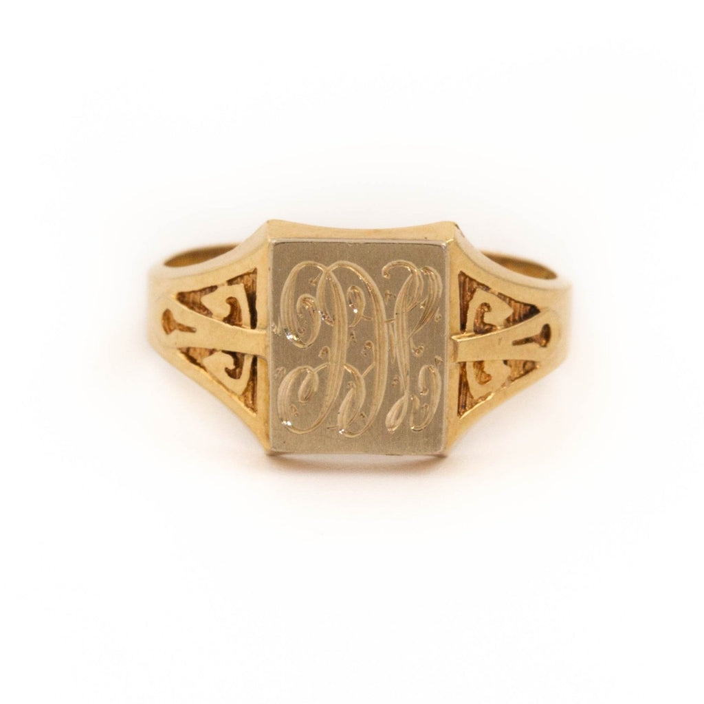 Cursive Gold Signet Ring - Kingdom Jewelry