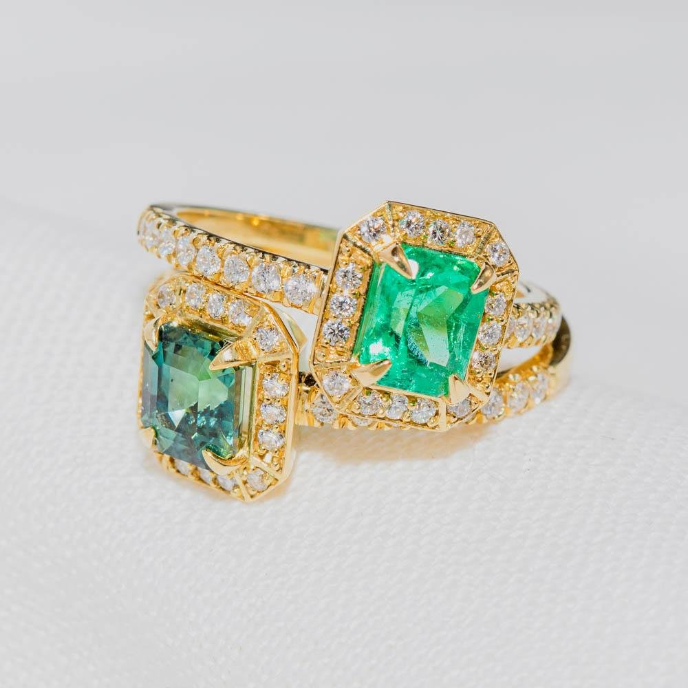 Emerald Micro-pave Diamond Ring - Kingdom Jewelry