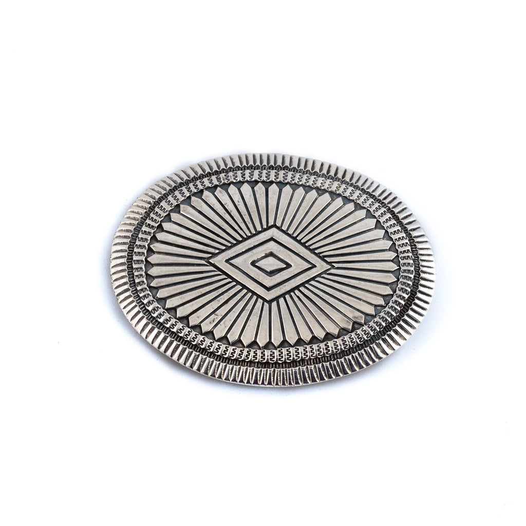 Flat-Cut Silver Navajo Concho Belt Buckle - Kingdom Jewelry