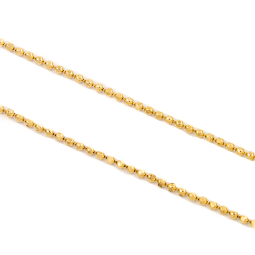 Gold 1mm Ball Link Necklace - Kingdom Jewelry