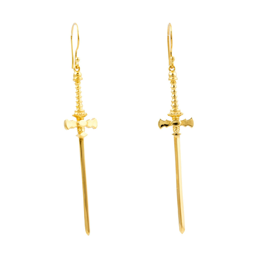 "Gold ""Defender"" Sword Earrings - Kingdom Jewelry"