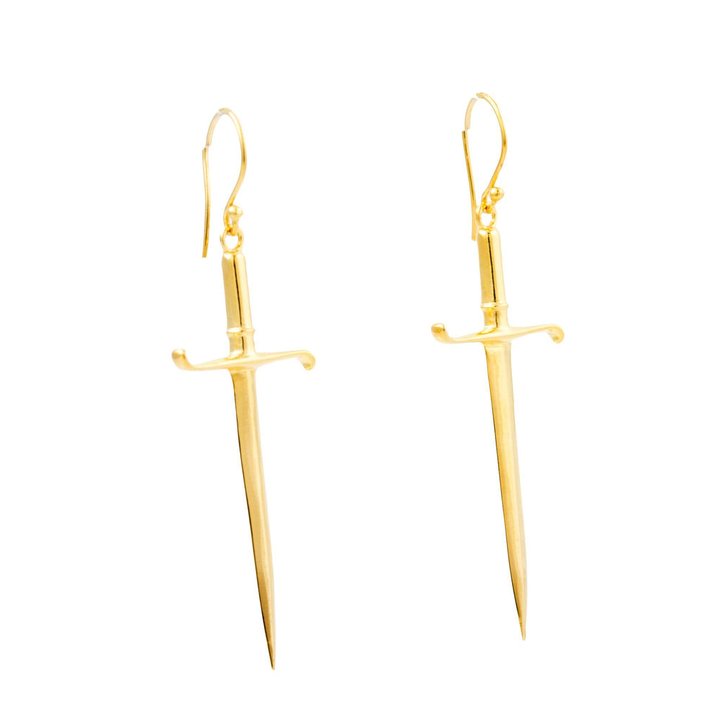 "Gold ""Estoc"" Sword Earrings - Kingdom Jewelry"