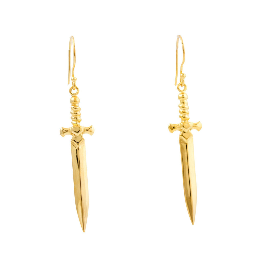 "Gold Plate ""Shortsword"" Earrings - Kingdom Jewelry"