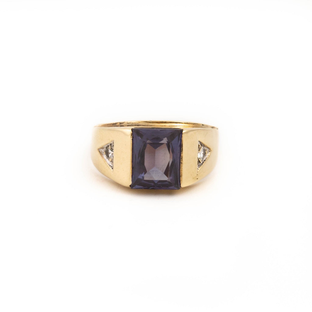 Gold Synthetic Amethyst Ring - Kingdom Jewelry