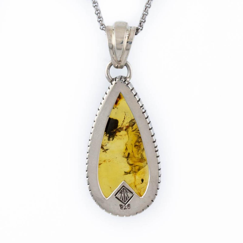 Golden Teardrop Amber Pendant - Kingdom Jewelry