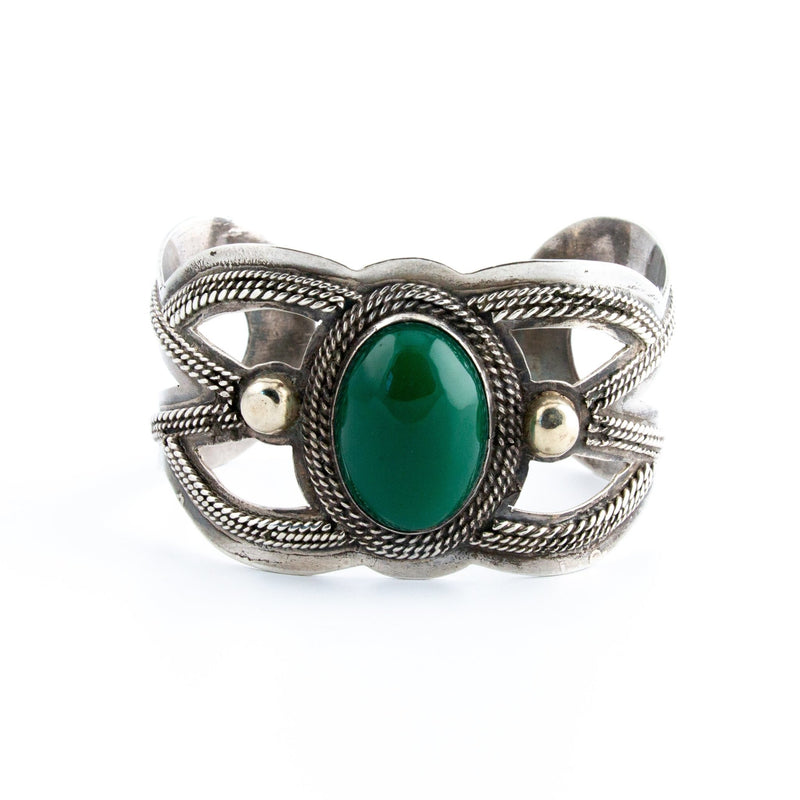 Green Onyx Taxco Cuff - Kingdom Jewelry