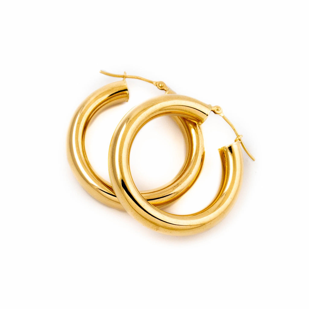 Half Pipe Gold Hoops - Kingdom Jewelry