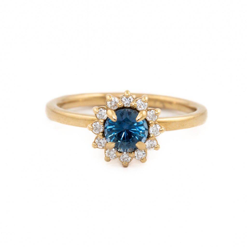 Halo Sapphire Engagement Ring - Kingdom Jewelry