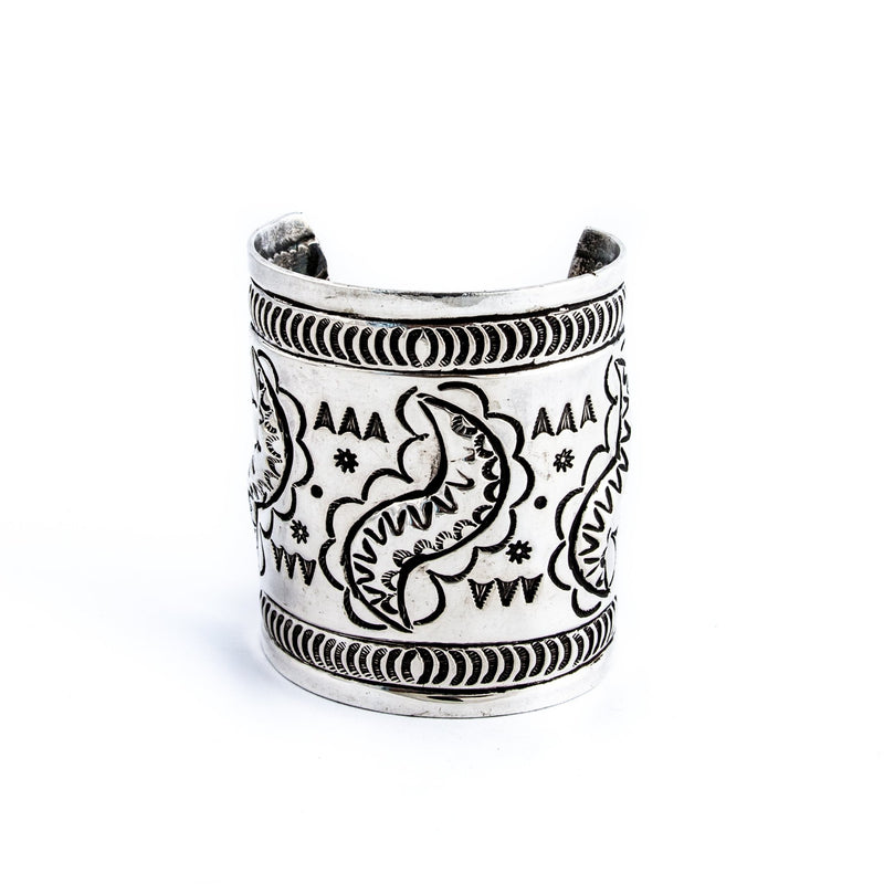 Heavy Stamped Repousse Cuff - Kingdom Jewelry