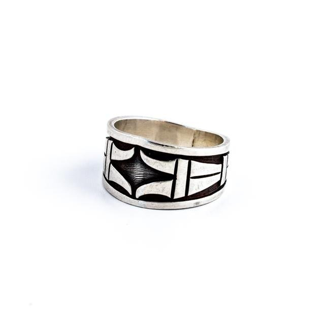 Hopi Overlay Silver Ring - Kingdom Jewelry