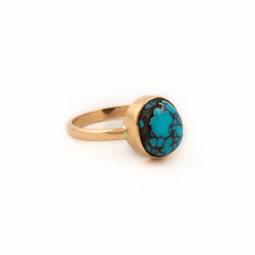 Hubei Turquoise Gold Ring - Kingdom Jewelry