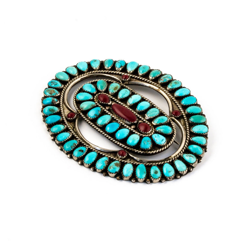 Incredible Zuni Cluster Brooch - Kingdom Jewelry
