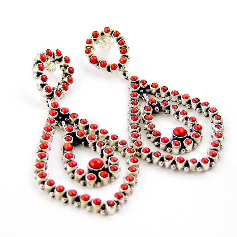 Multi Stone Coral Earrings - Kingdom Jewelry