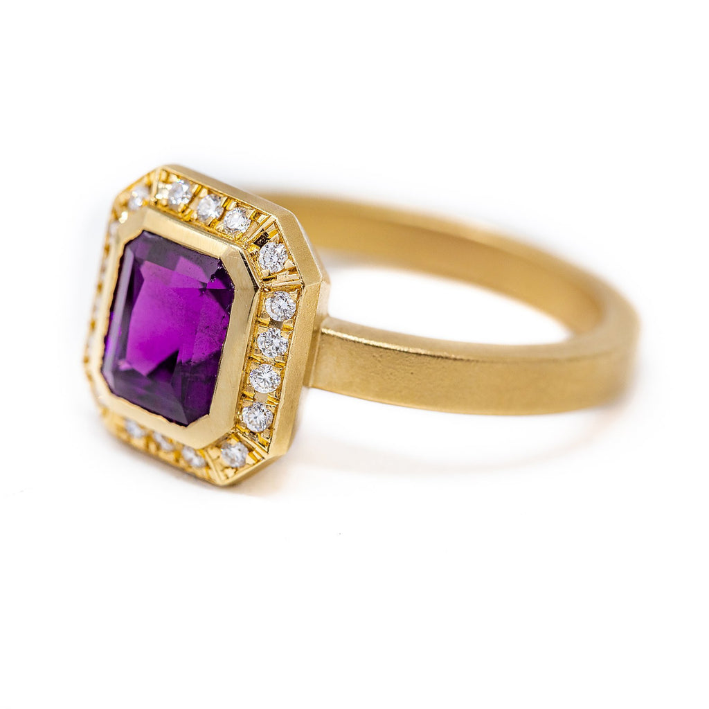 Purple Garnet Diamond Ring - Kingdom Jewelry