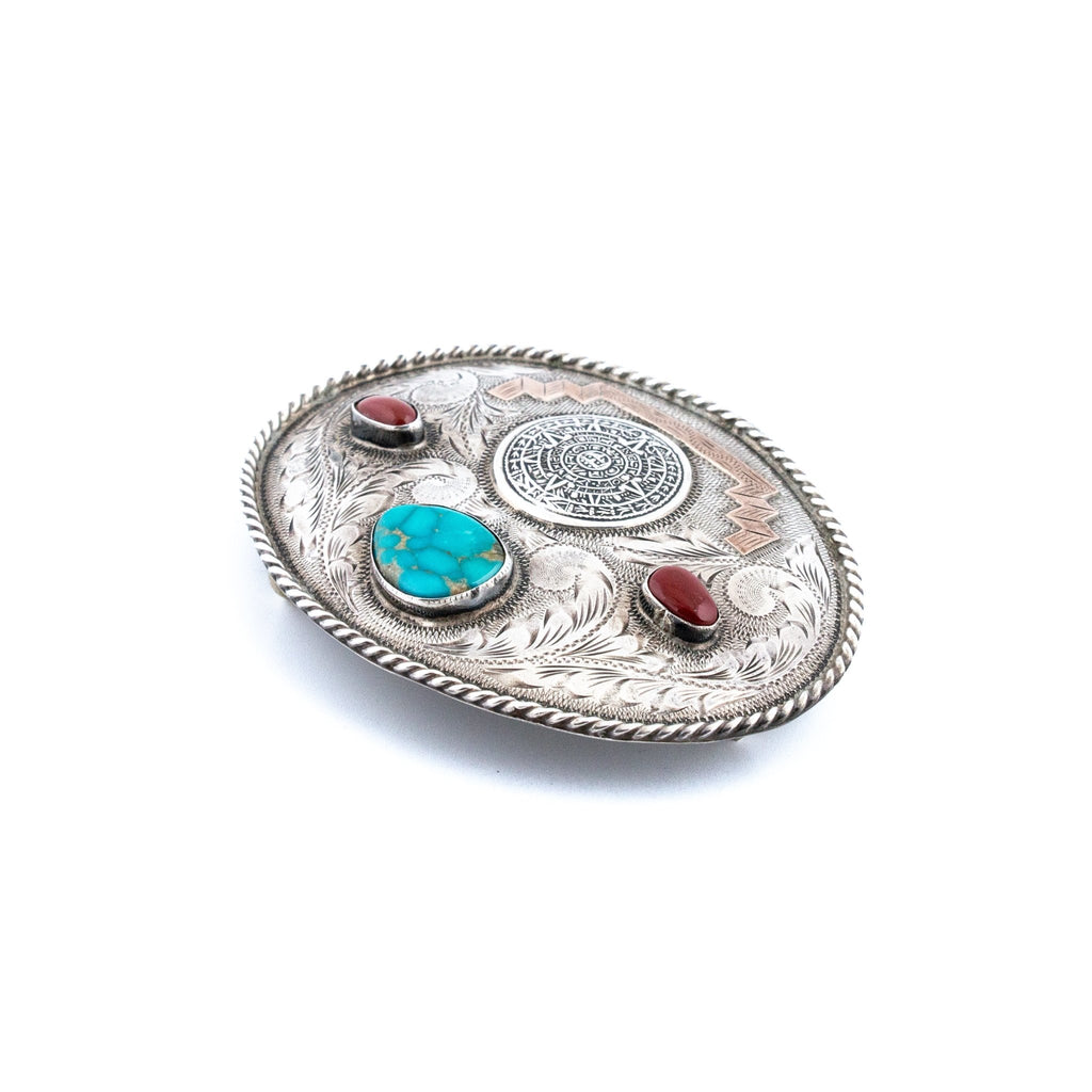 Red Coral & Turquoise Mayan Calendar Taxco Belt Buckle - Kingdom Jewelry