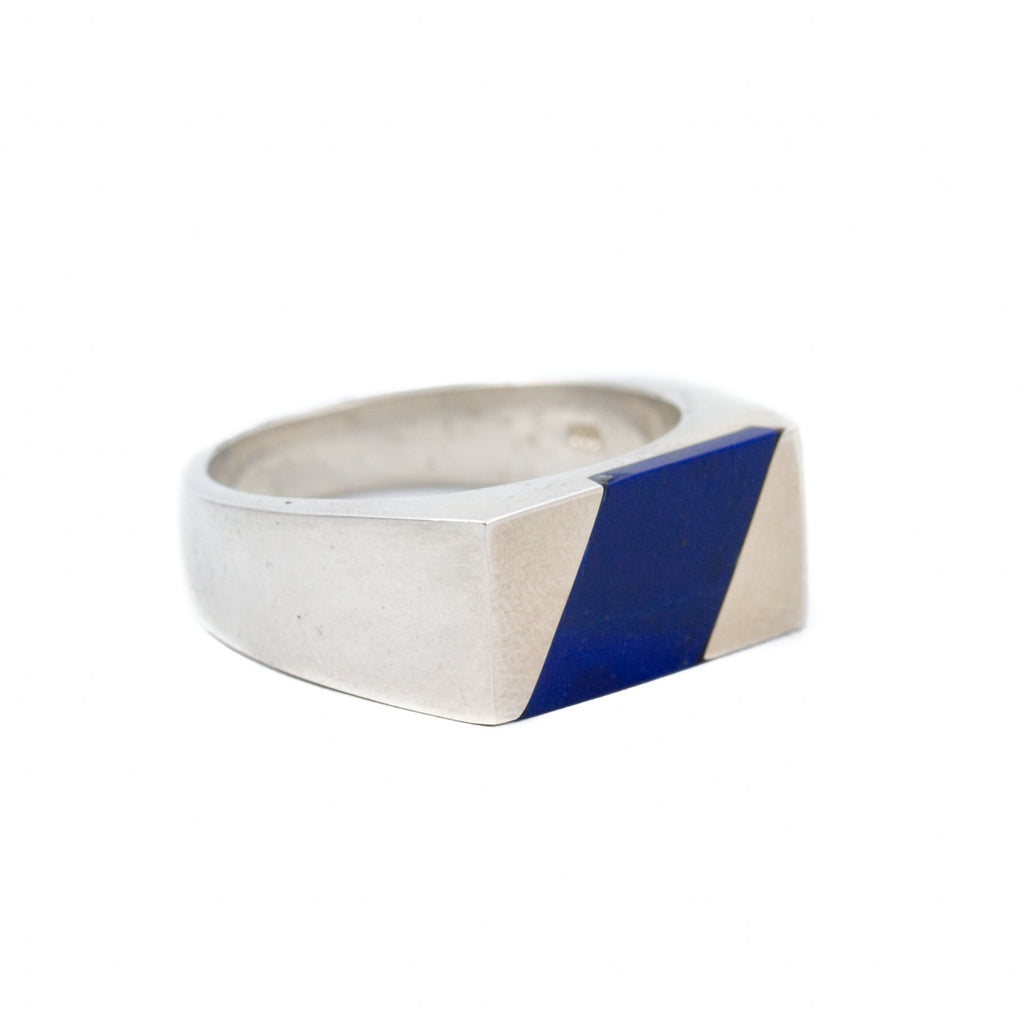 Rhombus Lapis Inlay Ring - Kingdom Jewelry