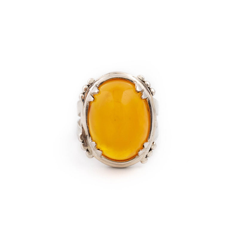 Rich Baltic Amber Ring b - Kingdom Jewelry