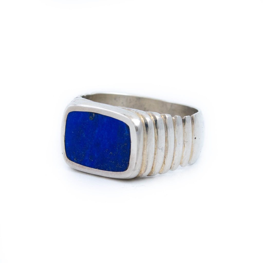 Ridged Lapis Inlay Ring - Kingdom Jewelry