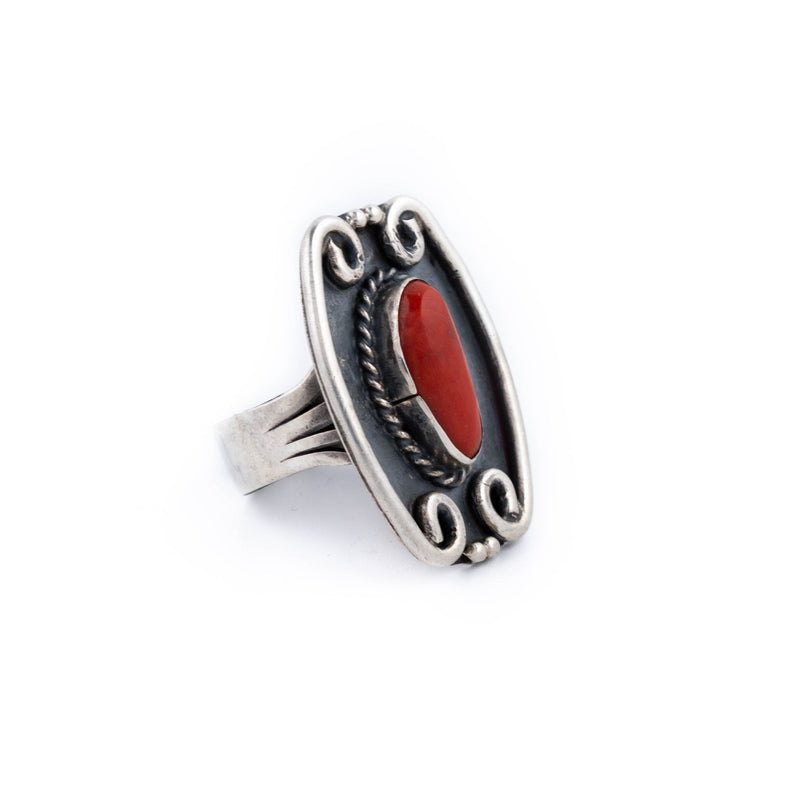 Scalloped Red Coral Ring - Kingdom Jewelry