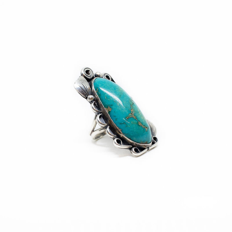 Scalloped Silver Turquoise Ring - Kingdom Jewelry