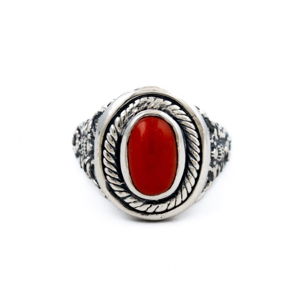 Scorpion Red Coral Ring - Kingdom Jewelry