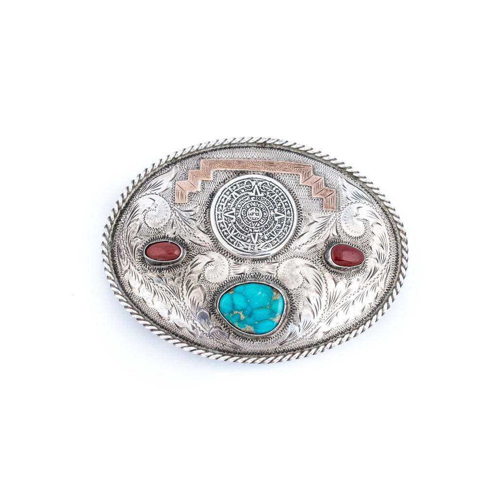 Silver Aztec Pyramid Taxco Turquoise & Fire Agate Belt Buckle - Kingdom Jewelry