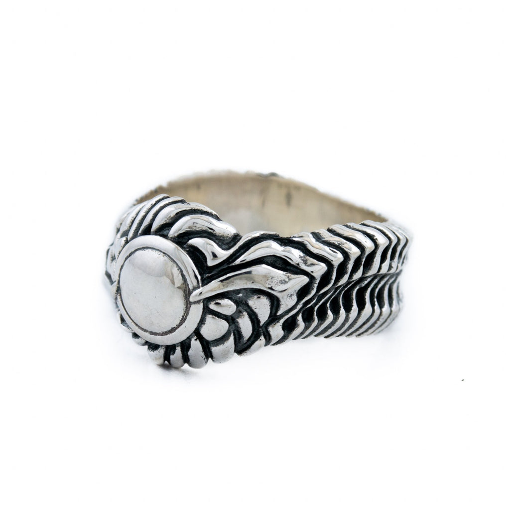 "Silver ""Biomech"" Band Ring - Kingdom Jewelry"