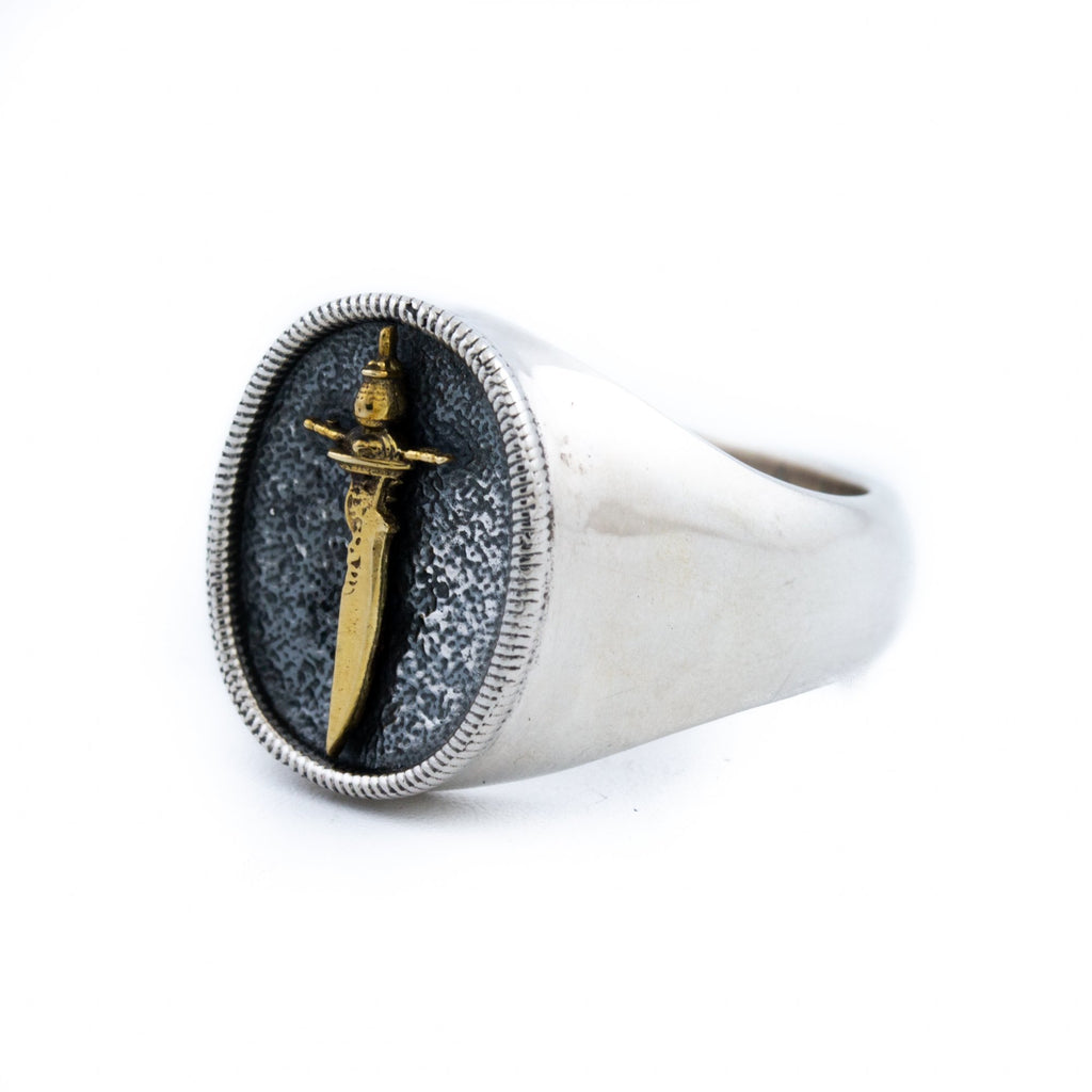 "Silver & Brass ""Cutlass"" Signet - Kingdom Jewelry"