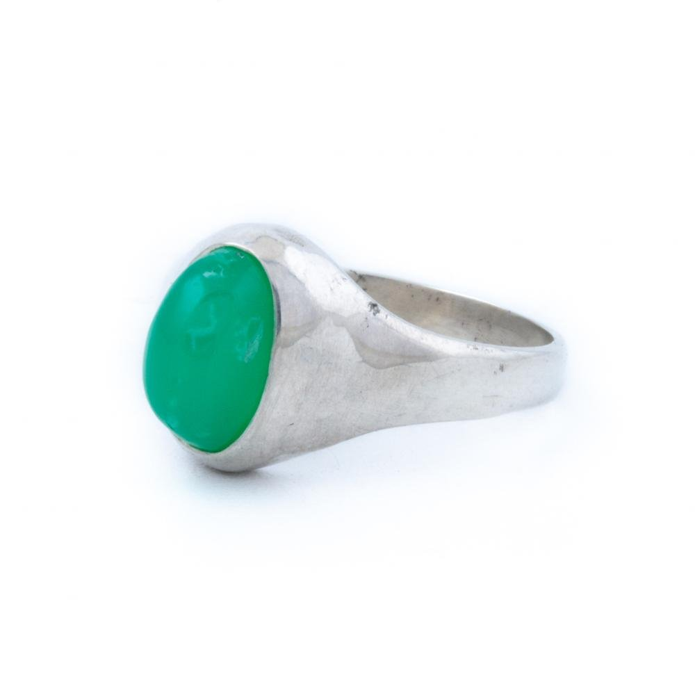 Silver Domed Chrysoprase Ring - Kingdom Jewelry
