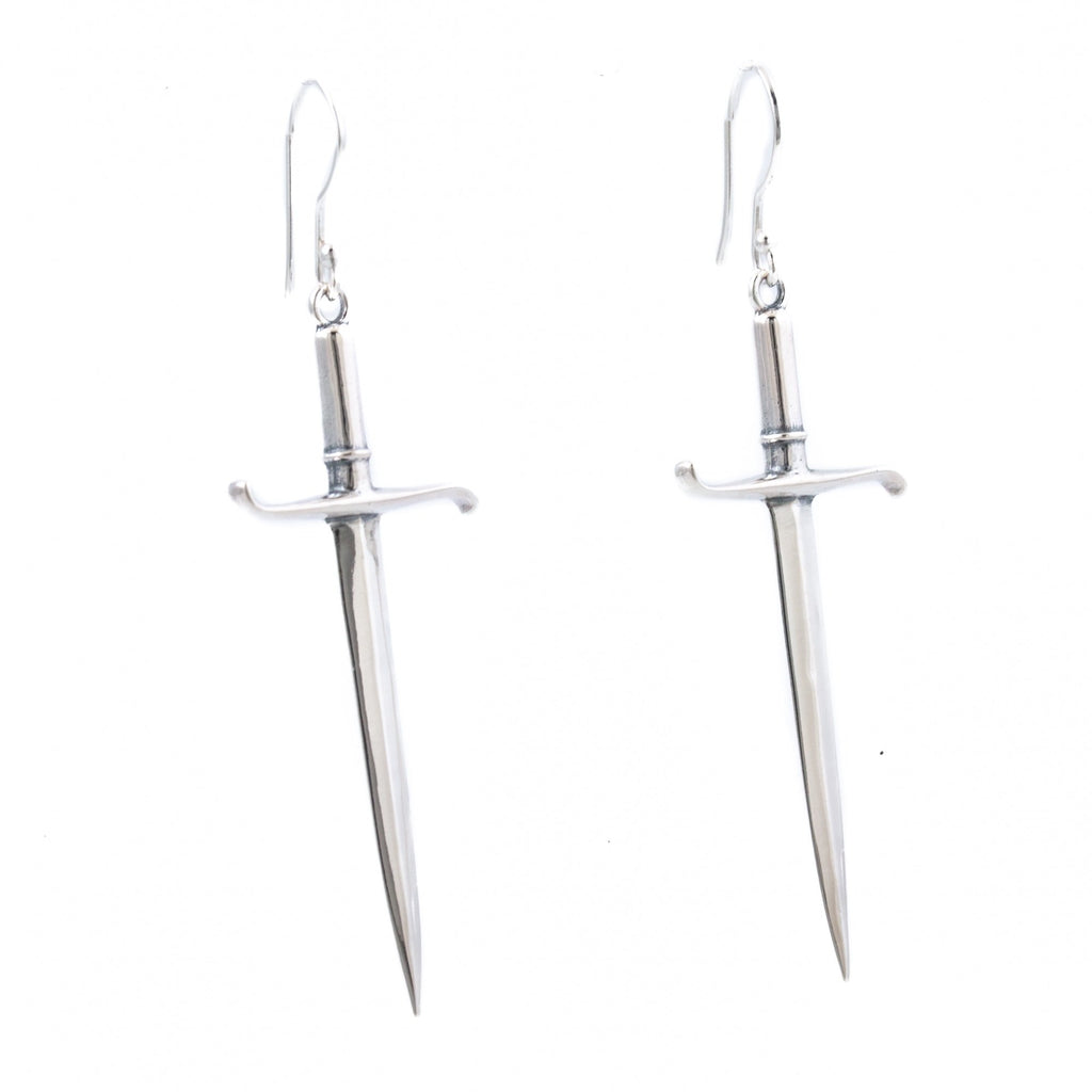 "Silver ""Estoc"" Sword Earrings - Kingdom Jewelry"