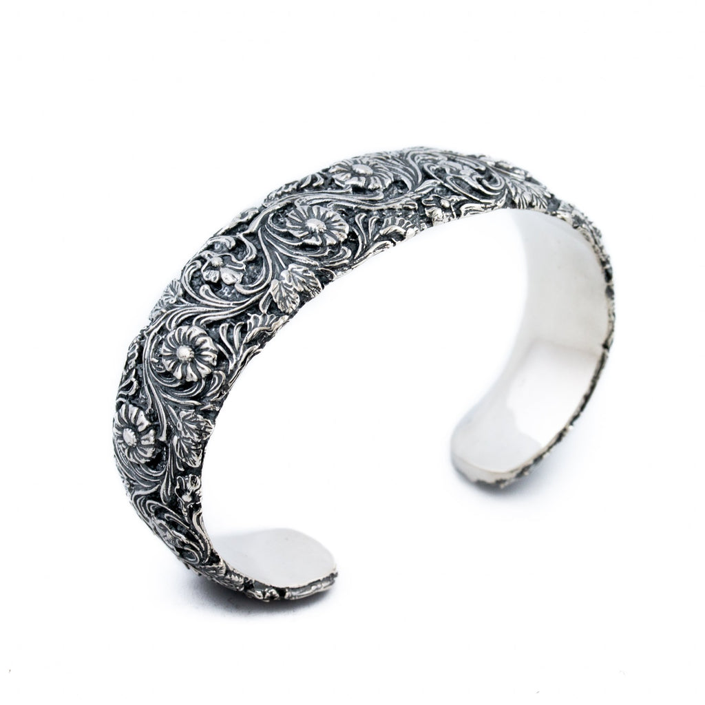 Silver Flower Channel Cuff - Kingdom Jewelry