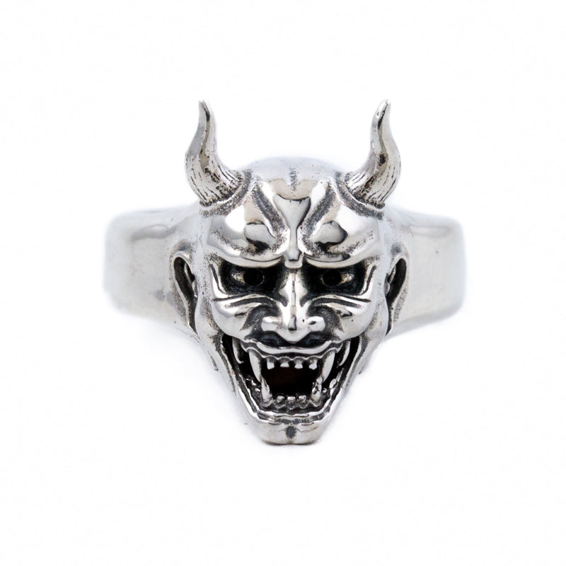 Silver Hannya Mask Ring - Kingdom Jewelry