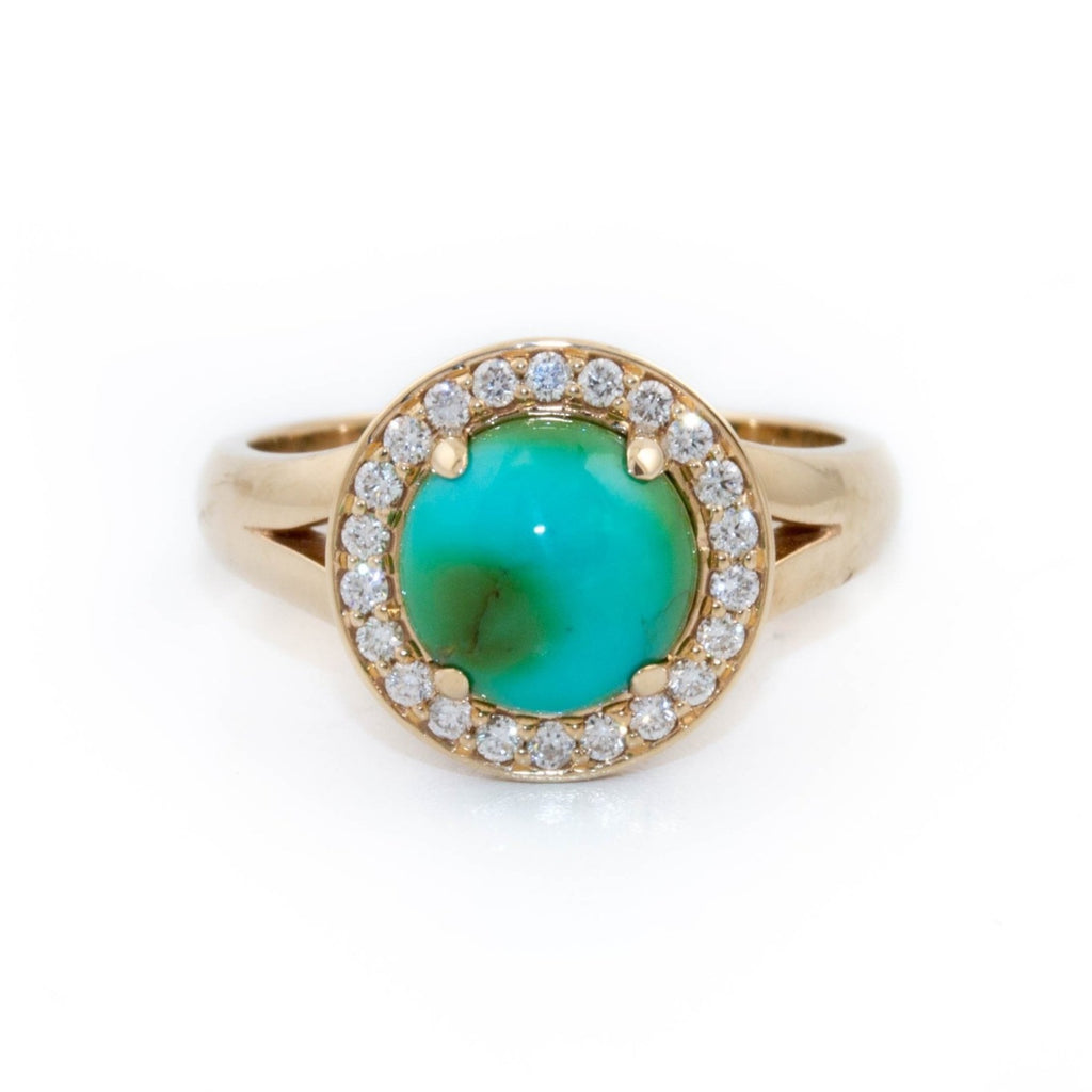 Turquoise Diamond Halo Ring - Kingdom Jewelry