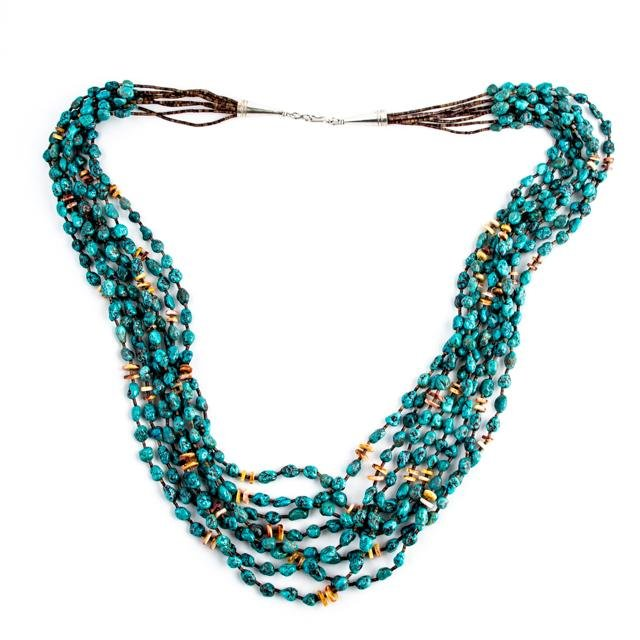 Turquoise Heishi Cluster Necklace - Kingdom Jewelry
