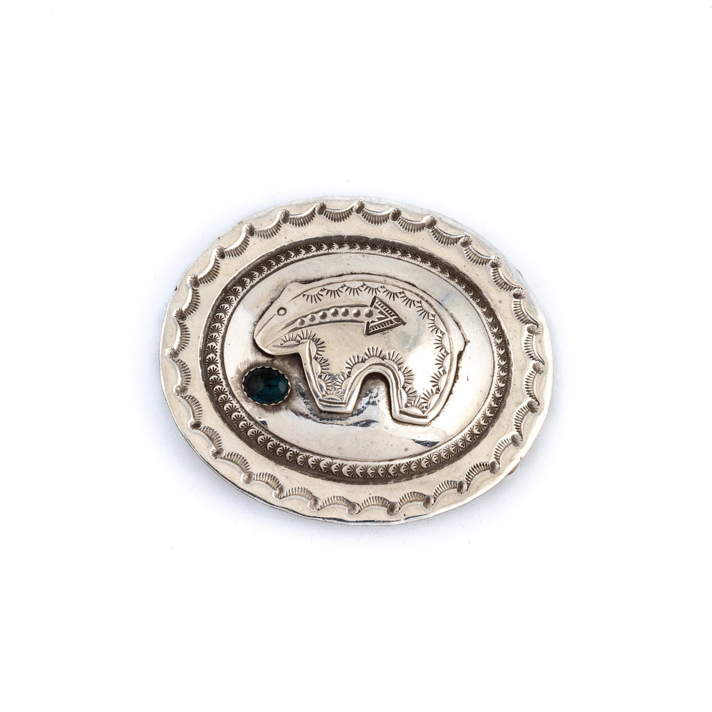 Vintage Onyx Navajo Bear Belt Buckle - Kingdom Jewelry