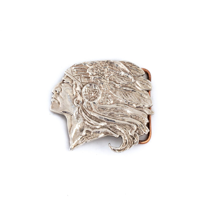 Vintage Rustic Silver Chief Belt Buckle - Kingdom Jewelry