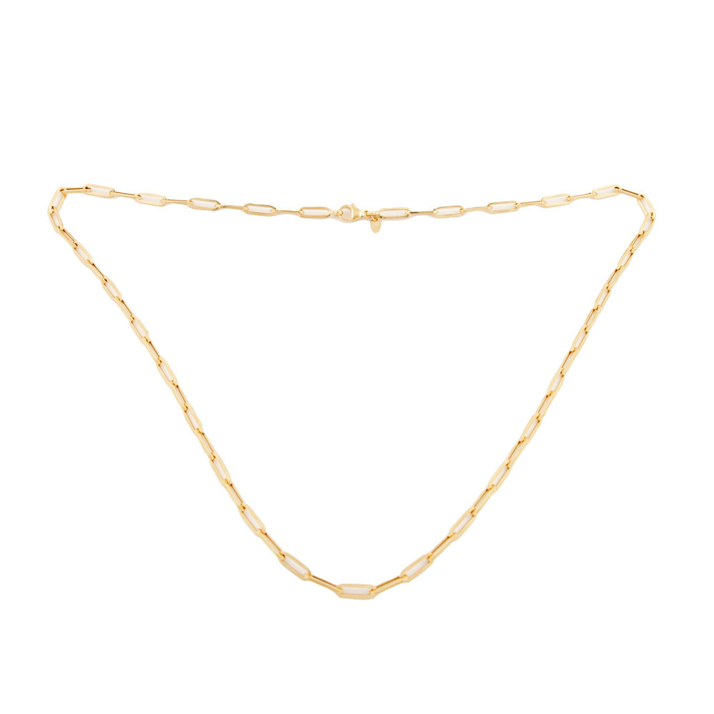 Yellow Gold Paperclip Necklace - Kingdom Jewelry