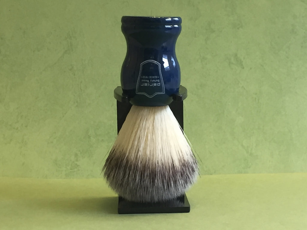 Parker Synthetic Bristle Blue Handle Shaving Brush w/Stand