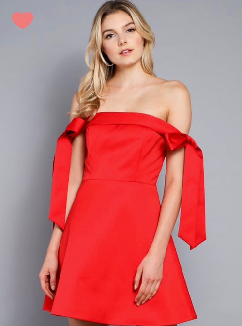 BE MINE OFF THE SHOULDER COCKTAIL DRESS