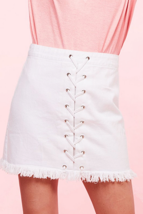 CROSS MY HEART DENIM SKIRT