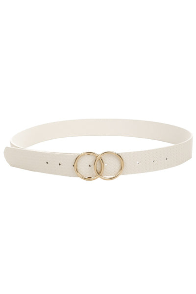 ARLEE DOUBLE BUCKLE VEGAN LEATHER BELT - WHITE