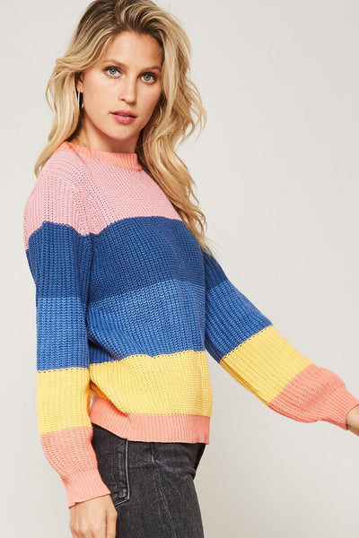 GIRLS WHO BRUNCH COLORBLOCK KNIT SWEATER - Brinisity
