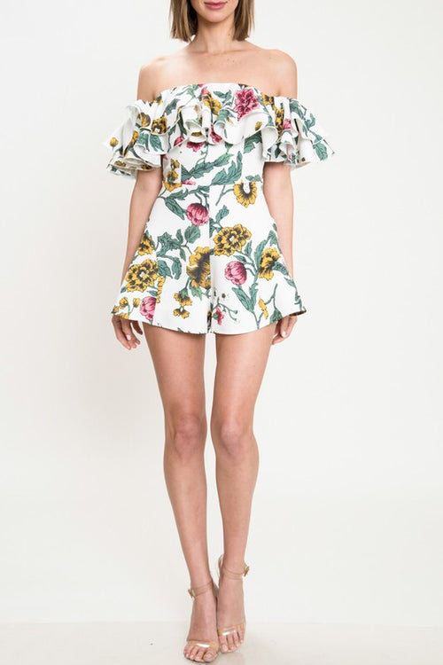 ALMOST PARADISE OFF THE SHOULDER ROMPER