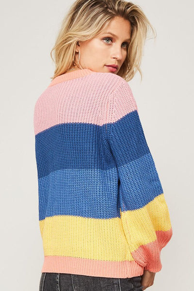 Girls who brunch colorblock Knit Sweater